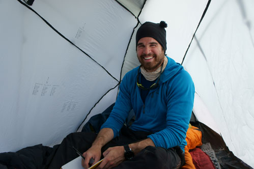 McCarthy takes a break in his tent.