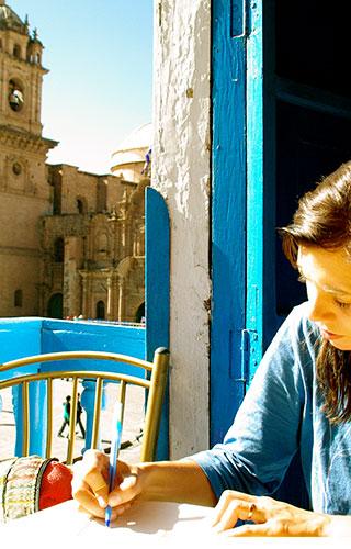 Journaling above Plaza de Armas