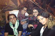 Nadine Naber (second from left) in Tahrir Square.