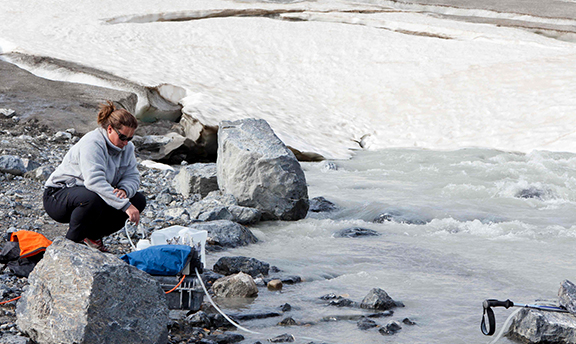 University of Michigan professor Sara Aciego researches glacial meltwater in Greenland.