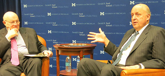 discusses leadership and foreign policy with John Negroponte at the Ford School of Public Policy.
