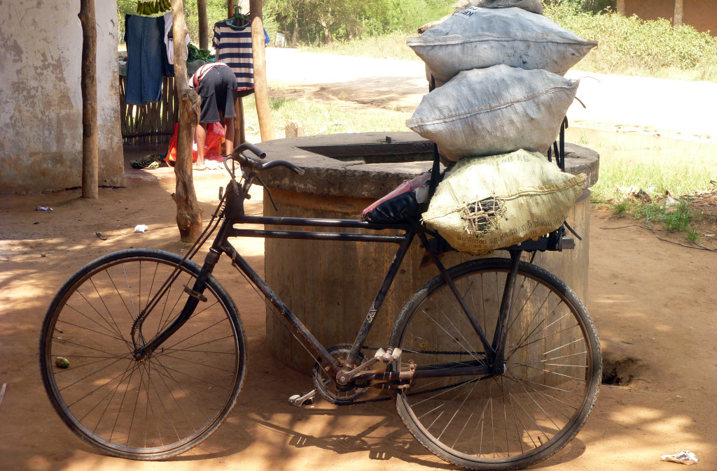 A bicycle used to haul charcoal in Kenya.
