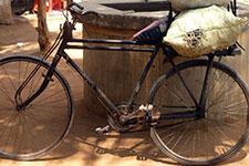 A charcoal-hauling bike in Kenya.