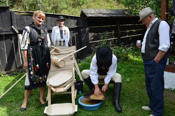 A demonstration of traditional mining techniques in Romania.