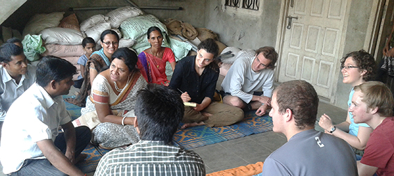 THe BLUElab India team meets with villagers.