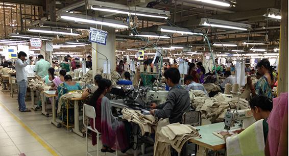 A garment factory in Bangalore. (Credit: Achyuta Adhvarya)