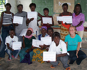 Schantz with the graduates of one of her first Peace Corps projects - One of my first projects - a young women's empowerment camp to promote leadership, goal setting and exposure to professional women.