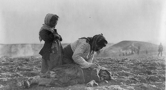 An Armenian refugee found dead in a field in Syria during the genocide.