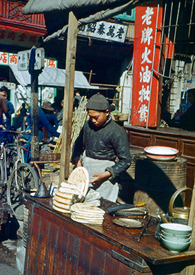 A market stand in post-war Shanghai. (With permission from the Lewis family)