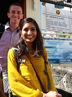 Ian Lang and Farnaz Malik, graduate students in public health, worked in the office of the Grenada Planned Parenthood Association during spring break. (Photo by Dana Thomas)
