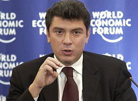 Boris Nemtsov speaking at the World Economic Forum in Russia in 2003. (Credit: World Economic Forum)