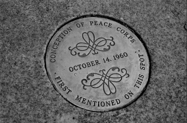 Medallion commemorating the the Peace Corps on the front steps of the Michigan Union (Photo by: Dan Bruell )