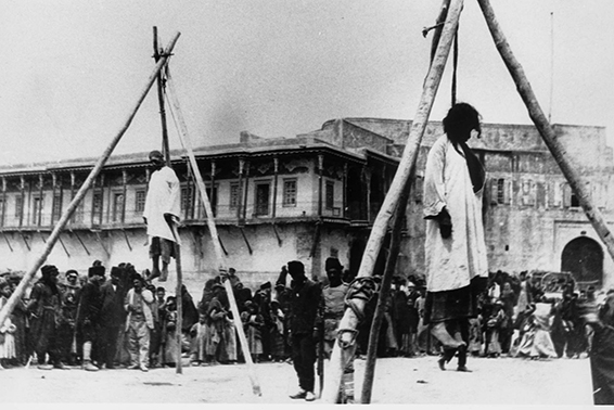 Armenians hanged in the street in Constantinople before the deportation of the Armenians to the desert had begun. Credit: Armenian National Institute, Inc., courtesy of Sybil Stevens (daughter of Armin T. Wegner). Wegner Collection, Deutches Literaturarchiv, Marbach & United States Holocaust Memorial Museum.