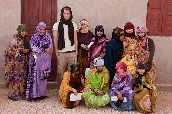 Bjornar Haveland with Sahrawi women in the Laayoune refugee camp, near Tinduf, Algeria. (Photo courtesy of Bjornar Haveland)