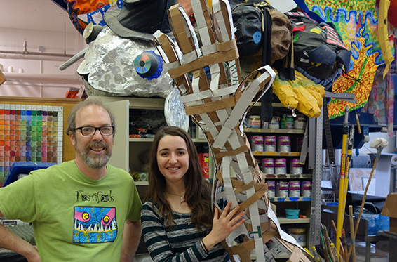 Mark Tucker with U-M student Michelle Belgrod in the Festifools studio.