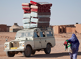 A delivery arrives in the Laayoune refugee camp. (Credit: Bjornar Haveland)