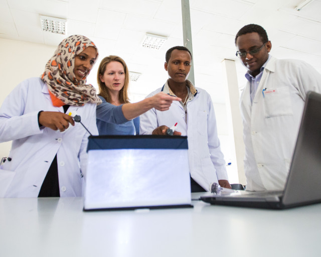 7/15/14 First year OB/GYN residents at St. Paul's Millenium Medical College in a laparoscopy simulator lead by Dr. Beth Skinner, Clinical Assistant Professor from the University of Michigan, in Addis Ababa, Ethiopia.