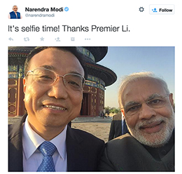 Indian leader Narendra Modi takes a selfie with his Chinese counterpart, Li Keqiang.