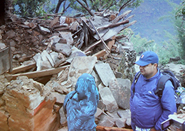 Researchers help out with the aid effort. (Image courtesy: Institute for Social and Environmental Research-Nepal)