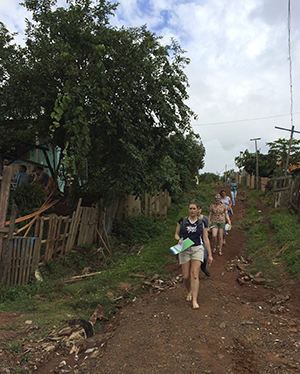 U-M students walk through Santa Marta as they collect data. (Photo courtesy of the U-M Capstone team.)