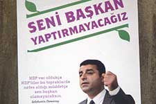 A poster for an opposition party in Turkey's general election in 2015.