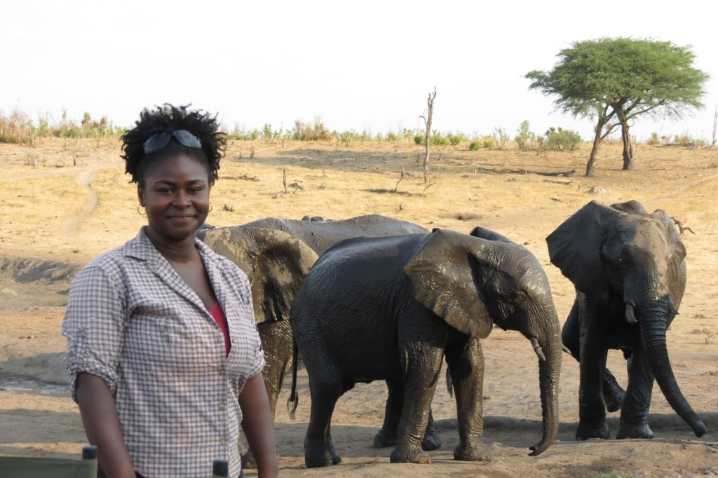 Nyeema Harris in Hwange National Park in Zimbabwe.