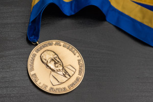 Thomas Francis, Jr. Medal given to Sir Fazle Hasan Abed at Robertson Auditorium, AA, MI