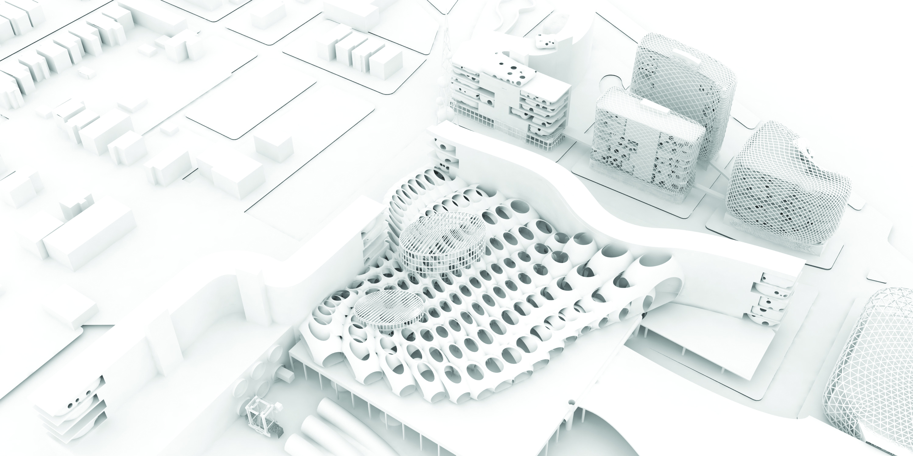 Rendered aerial perspective of industrial studios with pneumatic freight, housing, air-purification network, and a Canadian consulate. Speculative project for Mexicantown/Southwest Detroit seen in The Architectural Imagination, an exhibition for the United States Pavilion, Biennale Architettura 2016, Venice. Courtesy A(n) Office.