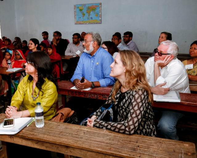 University of Michigan School of Public Health delegates, FCAB members and kids of Bagdumur come together in a local classroom to listen to CoreK Sesame Street presentation.