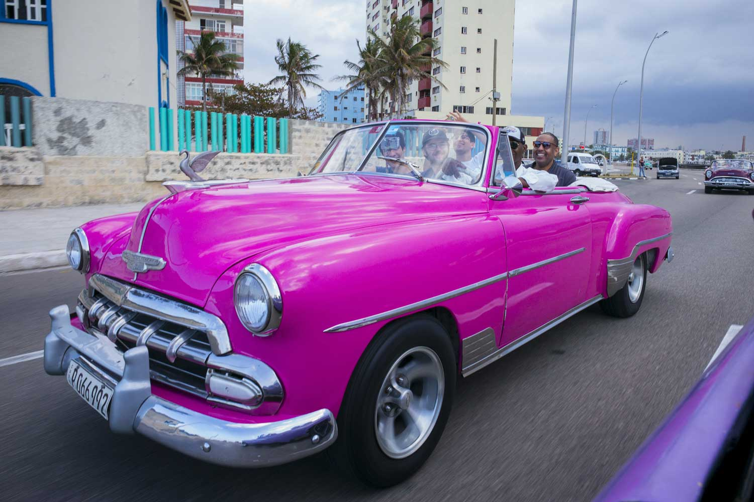 Vintage car in bright pink