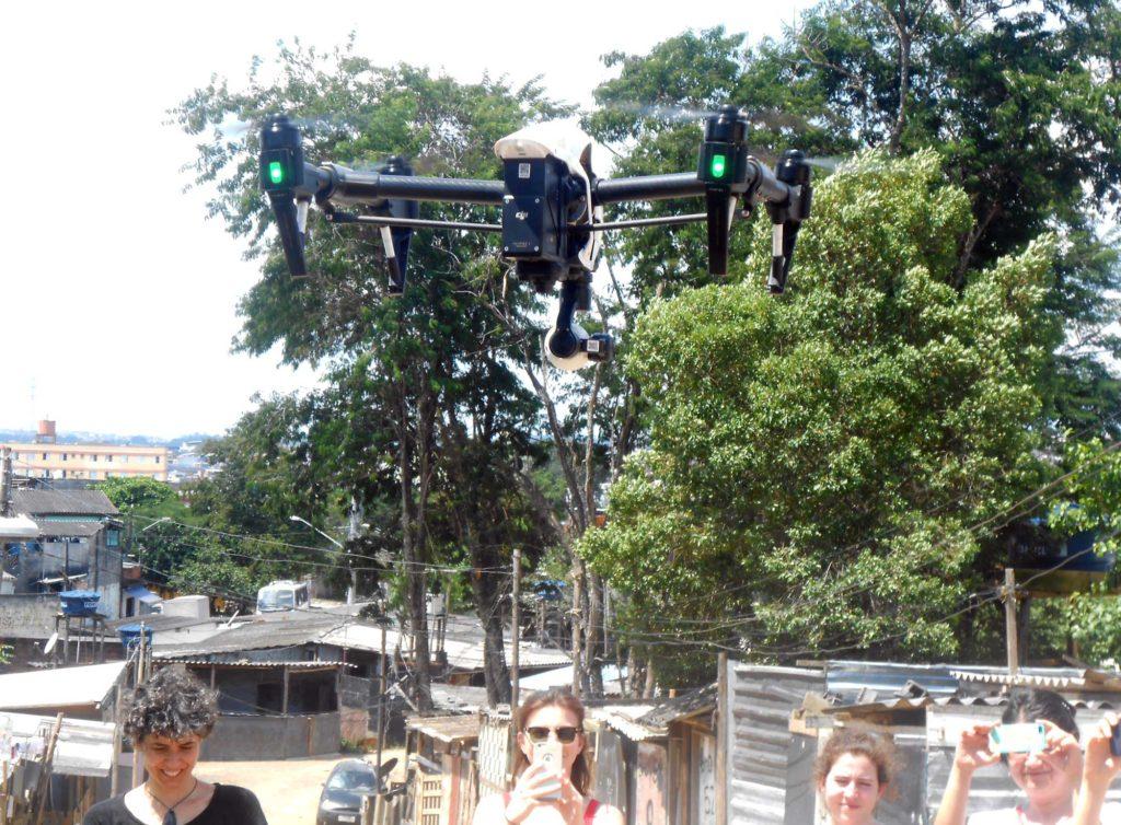 """Using a drone to document deforestation and site layout. Credit: """"Ocupação Anchieta Avança!"""" team"""