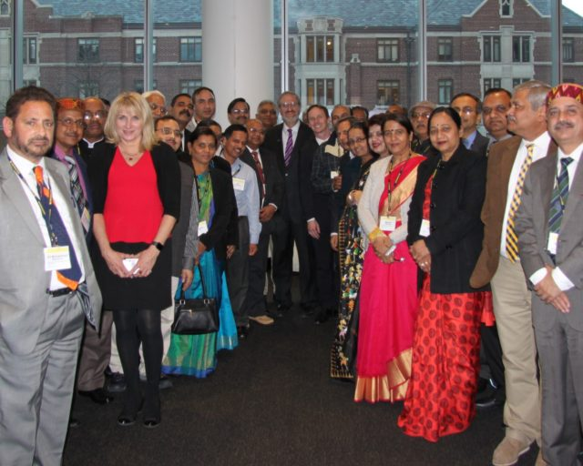 The Indian participants of LEAP program with University of Michigan President Mark Schlisseland Dean of Ross School of Business Scott DeRue.