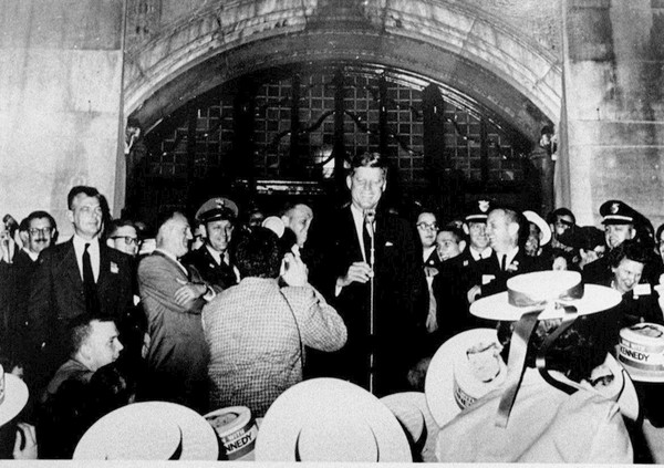 John F. Kennedy delivers the speech that launched the Peace Corps on the steps of the Michigan Union on Oct. 14, 1960.((Ann Arbor News file photo))
