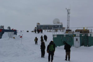 Everyone walking to the Big House at Summit Station.