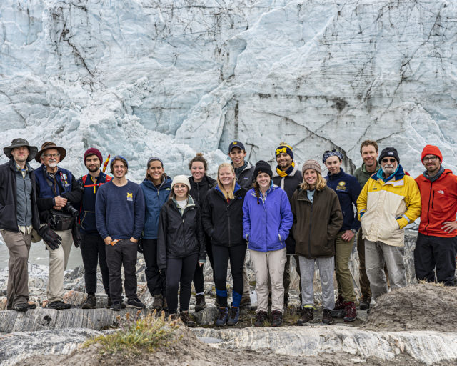 Group photo at Russell Glacier. From left to right: Jeremy Bassis, Perry Samson, Marc Koerschner, Alec Beljanski, Ally Finch, McKenzie Zauel, Celeste Rogers, Gwyneth Martin, Ian Kelley, Celia Warner, Homero Rincon, Abby Meyer, Lydia Gilbert, Mark Flanner, Bob Clauer, Sean Patrick.