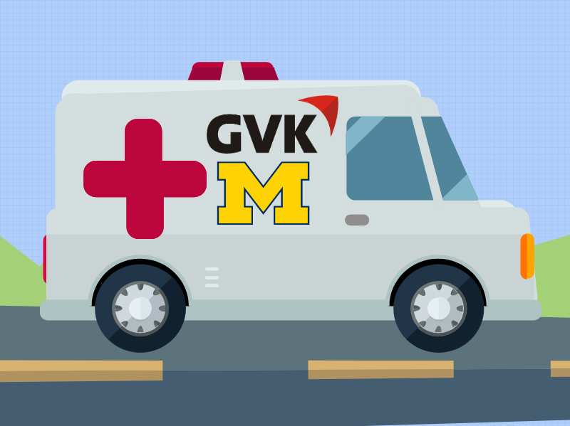 llustration of an ambluance with the GVK and block M logos. Image credit: Chloe Oliva
