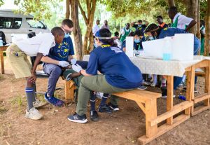 School benches become dental chairs at Kigane Primary School in Nkubu, Kenya.