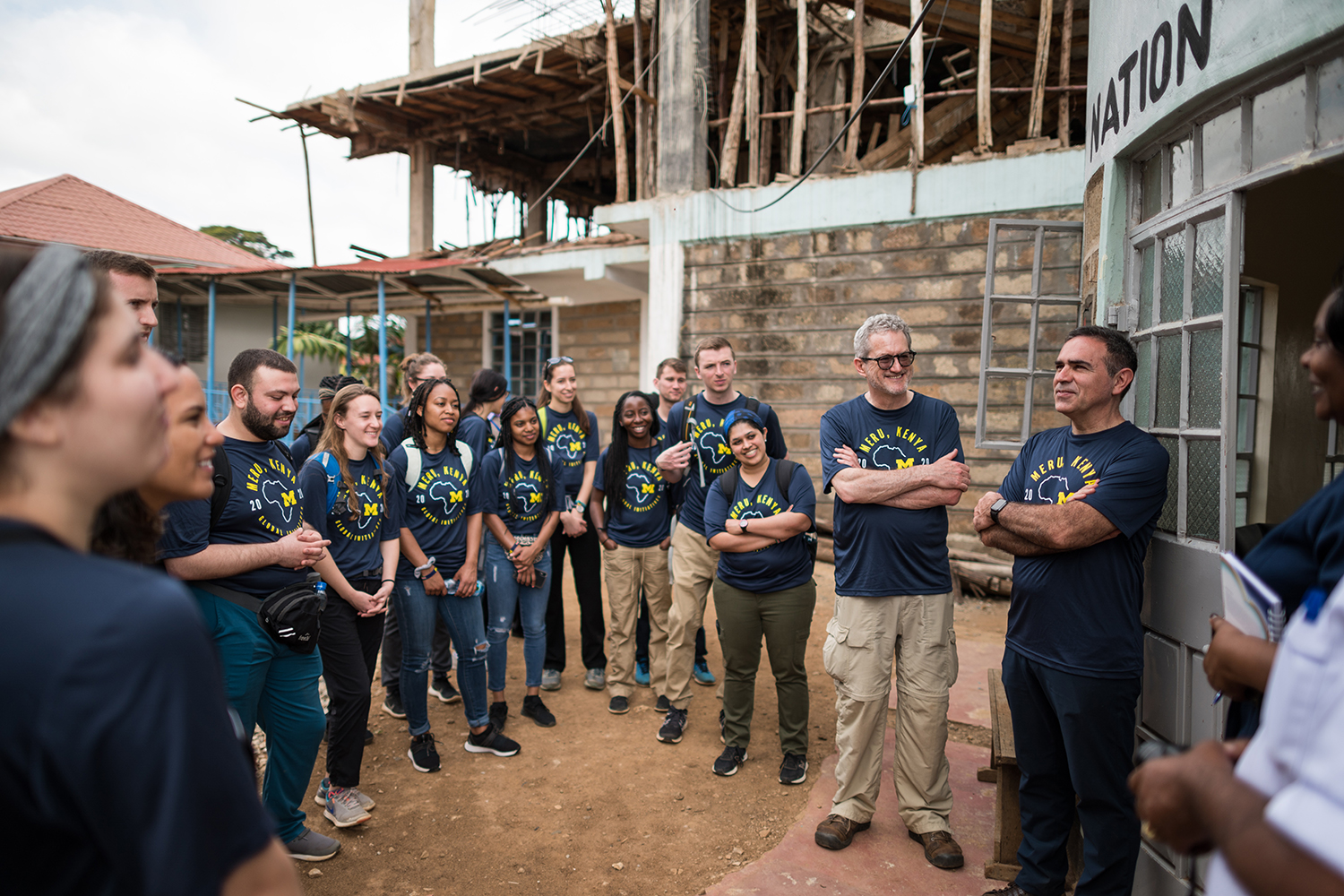 Carlos González-Cabezas (far right) addresses students at Consolata Mission Hospital in Nkubu, Kenya.