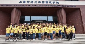 Sixty-one Michigan students arrive in Shanghai at the UM-SJTU Joint Institute, a partnership between U-M and Shanghai Jiao Tong University.