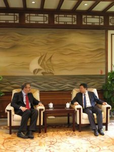 President Schlissel with Tsinghua University President Qiu Yong in 2015 during Schlissel's first trip to China as president. U-M and Tsinghua have been working together for years.