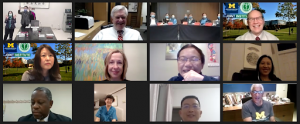 Joint Institute colleagues in China virtually share their advice with Michigan Medicine leaders during a teleconference call.