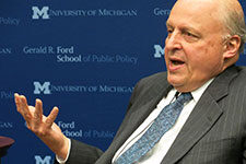 John Negroponte speaks at the Ford School of Public Policy.