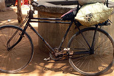 A charcoal-hauling bike in Kenya.
