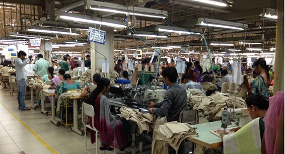 A garment factory in Bangalore with traditional lights. (Credit: Achyuta Adhvarya)