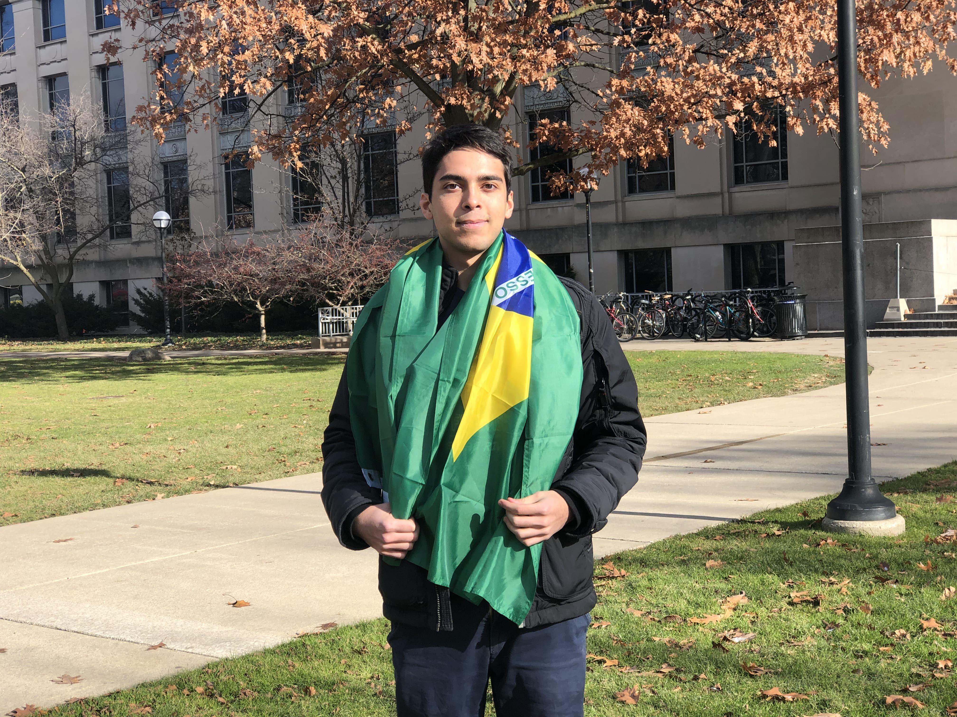 Eduardo Batista with Brazilian flag